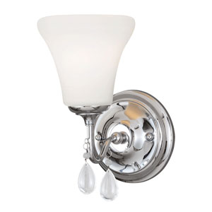 West Town Chrome Fluorescent One-Light Wall Sconce  with Etched Glass Painted White Inside