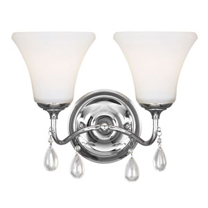 West Town Chrome Fluorescent Two-Light  Bath Vanity with Etched Glass Painted White Inside