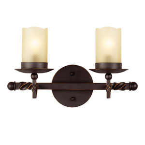 Trempealeau Roman Bronze Two-Light Bath Vanity with Champagne Seeded Glass
