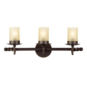 Trempealeau Roman Bronze Three-Light  Bath Vanity with Champagne Seeded Glass