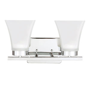 Bayfield Chrome Two-Light  Wall Sconce with Satin Etched Glass