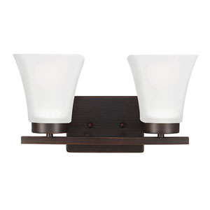 Bayfield Burnt Sienna Two-Light  Wall Sconce with Satin Etched Glass