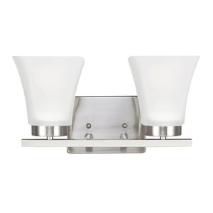Bayfield Brushed Nickel Two-Light  Wall Sconce with Satin Etched Glass