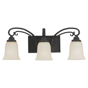 Del Prato Chestnut Bronze Three-Light Wall Mounted Bath Fixture