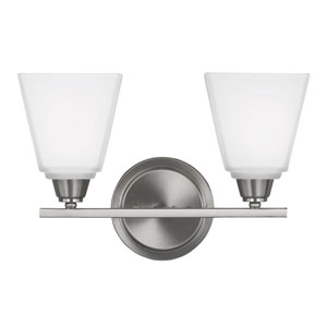 Parkfield Brushed Nickel Two-Light  Bath Vanity with Etched Glass