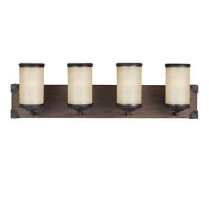 Dunning Stardust Four-Light Wall Sconce with Creme Parchment Glass