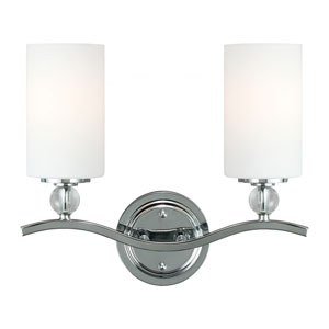 Englehorn Chrome and Optic Crystal Two Light Bathroom Vanity Fixture