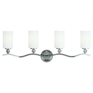 Englehorn Chrome and Optic Crystal 12.75-Inch Four Light Bathroom Vanity Fixture