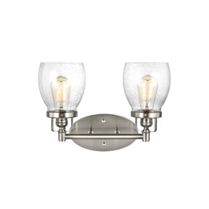 Belton Brushed Nickel 15-Inch Two-Light Bath Light