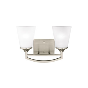 Hanford Brushed Nickel Two-Light Bath Fixture