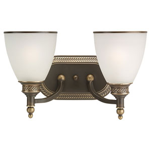 Laurel Leaf Estate Bronze Two-Light Wall Mounted Bath Fixture
