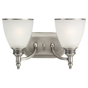 Laurel Leaf Antique Brushed Nickel Two-Light Bath Fixture
