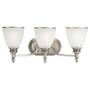 Laurel Leaf Antique Brushed Nickel Three-Light Bath Fixture