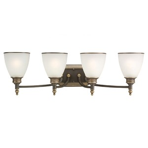 Laurel Leaf Estate Bronze Four-Light Wall Mounted Bath Fixture