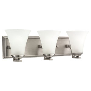 Somerton Antique Brushed Nickel Energy Star LED Three Light Wall Bath Bar Vanity