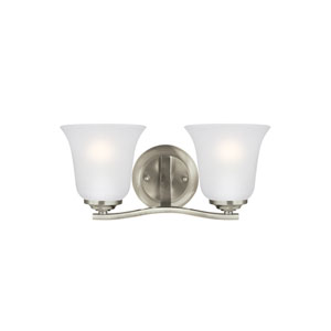 Emmons Brushed Nickel 14-Inch Two-Light Bath Light