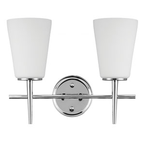 Driscoll Chrome Two Light Bathroom Vanity Fixture with Etched Glass Painted White Inside
