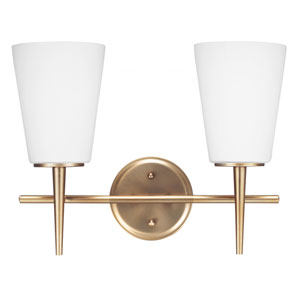 Driscoll Satin Brass Two Light Bathroom Vanity Fixture with Etched Glass Painted White Inside