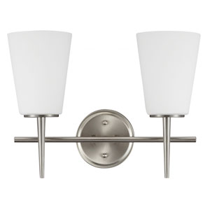 Driscoll Brushed Nickel Two Light Bathroom Vanity Fixture with Etched Glass Painted White Inside