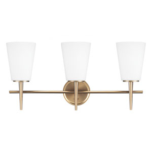 Driscoll Satin Bronze 12-Inch Three Light Bathroom Vanity Fixture