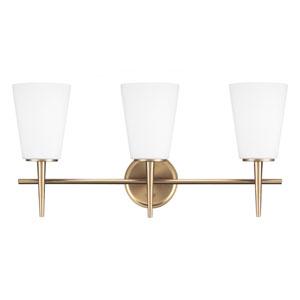 Driscoll Satin Brass 12-Inch Three Light Bathroom Vanity Fixture