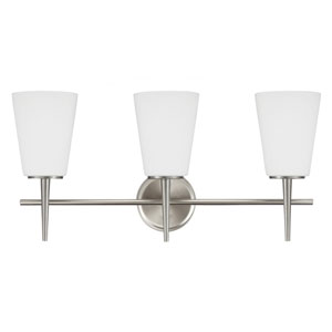 Driscoll Brushed Nickel 12-Inch Three Light Bathroom Vanity Fixture