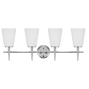 Driscoll Chrome 11.75-Inch Four Light Bathroom Vanity Fixture