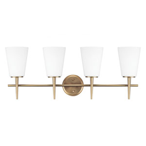 Driscoll Satin Bronze 11.75-Inch Four Light Bathroom Vanity Fixture