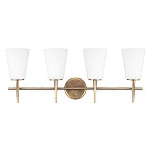 Driscoll Satin Brass 11.75-Inch Four Light Bathroom Vanity Fixture