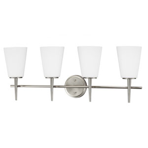Driscoll Brushed Nickel 11.75-Inch Four Light Bathroom Vanity Fixture