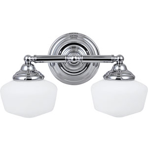 Academy Chrome Two-Light Wall Mounted Bath Fixture with Satin White Schoolhouse Glass