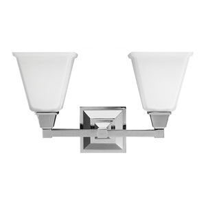Denhelm Chrome Two Light Bathroom Vanity Fixture with Etched Glass Painted White Inside