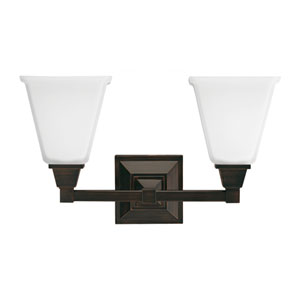 Denhelm Burnt Sienna Two Light Bathroom Vanity Fixture with Etched Glass Painted White Inside
