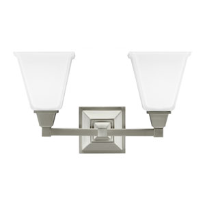 Denhelm Brushed Nickel Two Light Bathroom Vanity Fixture with Etched Glass Painted White Inside