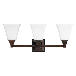 Denhelm Burnt Sienna 10-Inch Three Light Bathroom Vanity Fixture