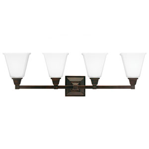 Denhelm Burnt Sienna 10-Inch Four Light Bathroom Vanity Fixture