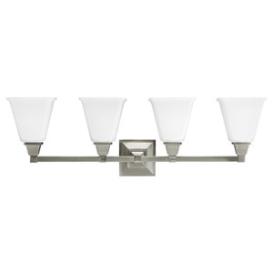 Denhelm Brushed Nickel 10-Inch Four Light Bathroom Vanity Fixture