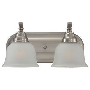 Wheaton Two-Light Brushed Nickel Bath Light with Satin EtchedGlass