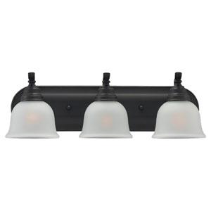 Wheaton Three-Light Heirloom Bronze Bath Light with Satin EtchedGlass