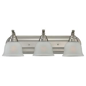 Wheaton Three-Light Brushed Nickel Bath Light with Satin EtchedGlass