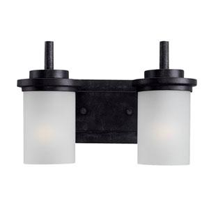 Winnetka Two-Light Blacksmith Bath Light with Satin EtchedGlass
