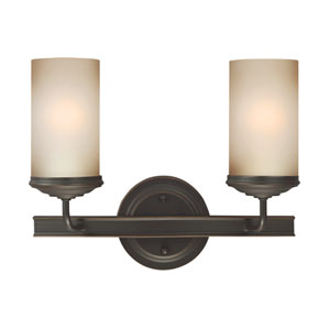 Sfera Autumn Bronze Two Light Bathroom Vanity Fixture with Smokey Amber Glass