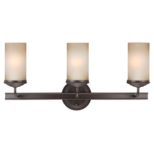 Sfera Autumn Bronze Three Light Bathroom Vanity Fixture with Smokey Amber Glass