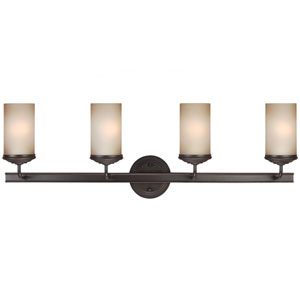 Sfera Autumn Bronze Four Light Bathroom Vanity Fixture with Smokey Amber Glass