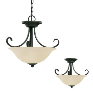 Del Prato Chestnut Bronze Two-Light Semi-Flush Convertible Pendant