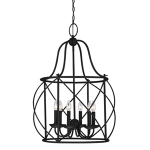 Turbinio Blacksmith 31.25-Inch Six Light Hall Foyer Pendant