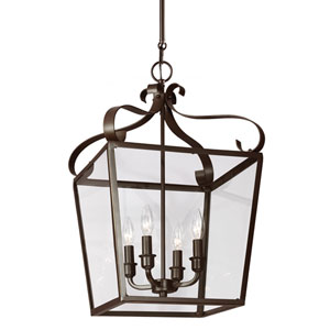 Lockheart Heirloom Bronze Four Light Hall Foyer Pendant with Clear Glass