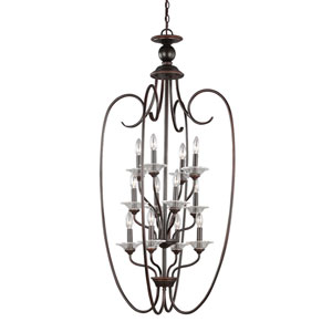Lemont Burnt Sienna Twelve-Light Chandelier with Clear Glass Bobeches