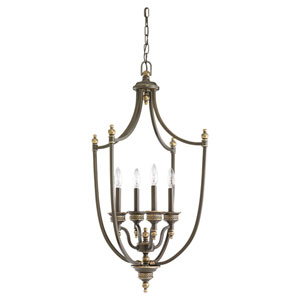 Laurel Leaf Estate Bronze Four-Light Foyer Pendant