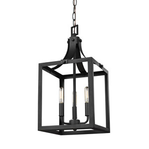 Labette Black 10-Inch Energy Star Three-Light Hall Foyer